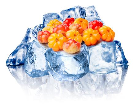 chicouté: Tas de chicouté sauvages gel sur de la glace pilée rugueuse. Clipping chemins pour chicouté, FG glace, BG glace, la réflexion et pour toute composite