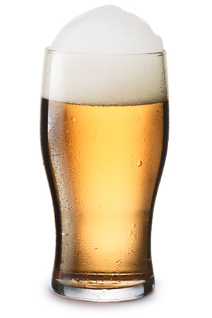 pilsner glass: Moist glass of cold, still light beer with foam. Separate clipping paths for both glass and shadow, infinite depth of field Stock Photo