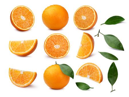 quartered: Set of whole, halved, quartered oranges and orange leaves.