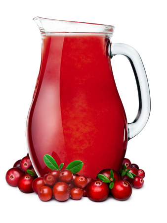 mountain cranberry: Cranberry lingonberry smoothie pitcher or jug with cranberries and lingonberries on foreground. Stock Photo