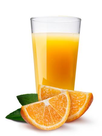 highball: Glass (highball) with orange juice with orange slice on foreground.