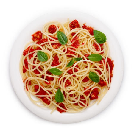 plates of food: Spaghetti with bolognese sauce.