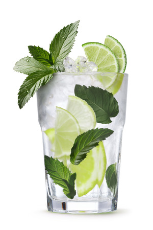 field mint: Mojito (alcoholic cocktail with rum, lime and mint). Clipping paths, infinite depth of field