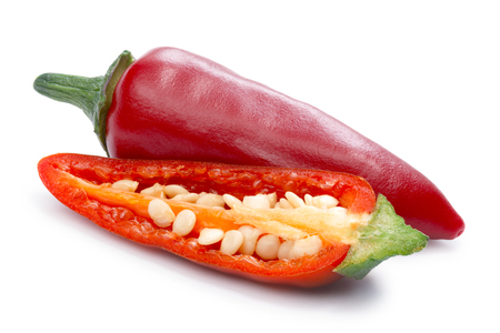jalapeno pepper: Hot Jalapeno Pepper (Capsicum Annuum) whole and halved. Stock Photo