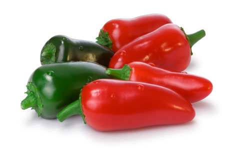 red jalapeno: Pile of red and green Jalapeno Peppers. Clipping paths for both peppers and shadow, infinite depth of field