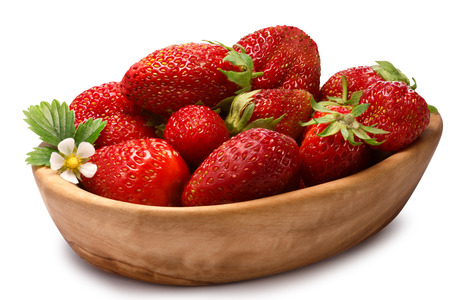 objects with clipping paths: Wooden bowl of fresh strawberries. Clipping paths, shadow separated,infinite depth of field