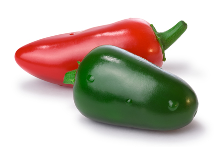 red jalapeno: Red and green Jalapeno Peppers. Clipping paths for both peppers and shadow, infinite depth of field