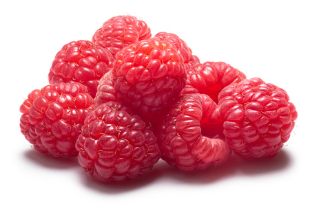 Pile of fresh raspberries without calyces. Clipping paths, shadow separated, infinite depth of field