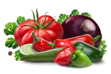 Onion, red and green habanero, halapeno, serrano peppers, heirloom tomato, cilantro. Ingredients for Salsa Cruda sauce. Stock Photo