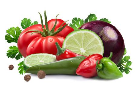 Lime, onion, red and green habanero peppers, serranos, chili, heirloom tomato, cilantro. Ingredients for Pica de Gallo sauce.