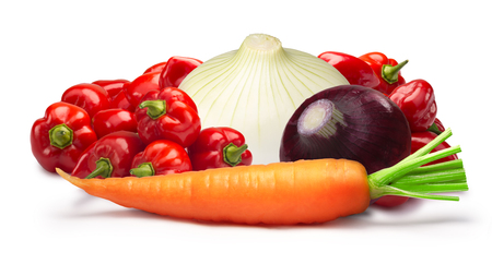 Ingredients for Belizian hot sauce. Habaneros, onion, carrot. shadows separated, infinite depth of field. Design elements Stock Photo