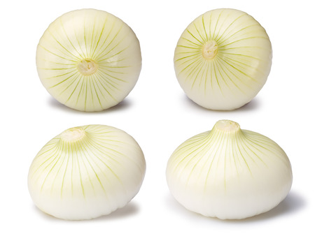 Set of white onion bulbs (Allium cepa), peeled, whole.