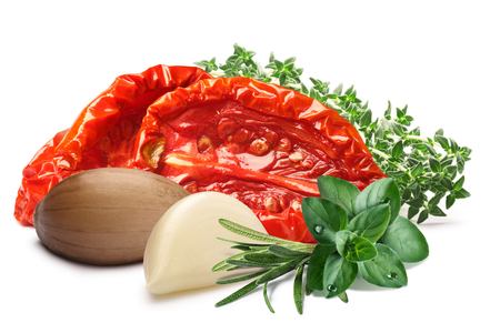 sundried: Sun-dried tomatoes, oiled, with garlic and fresh herbs.