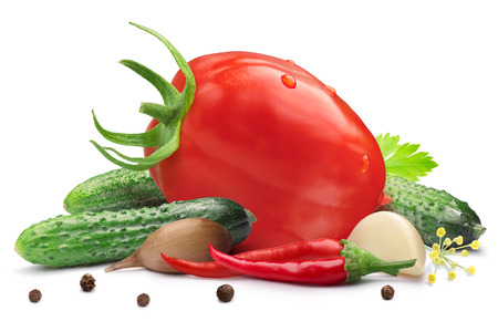 gherkins: Gherkins (tiny cucumbers or cornichons) with oblong tomato for pickling or canning. Clipping path, shadow separated. Design elements Stock Photo