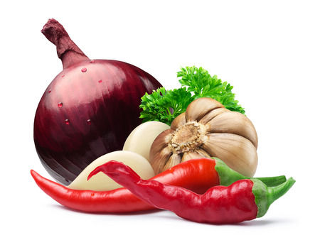 Garlic bulb and cloves with whole red onion, parsley and hot cayenne pepper together. Clipping paths, shadows separated. Design elements