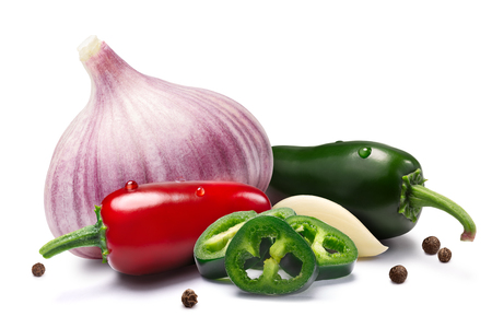 Garlic bulb and cloves with mild Jalapeno peppers and peppercorns together. Clipping paths, shadows separated. Design elements