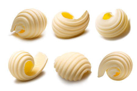 Set of different butter curls or rolls. Clipping paths, shadows separated Banco de Imagens - 66403224