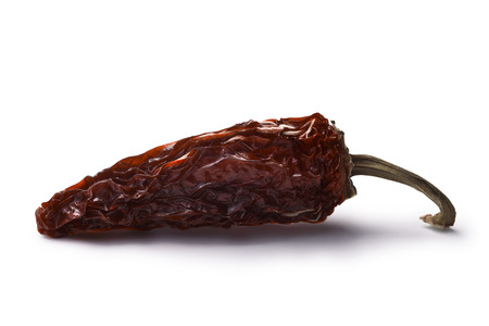 Chipotle morita, a whole smoked overripe Jalapeno pepper. Clipping paths, shadow separated Stock Photo