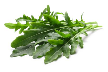 Fresh arugula (Eruca vesicaria) leafy salad. Clipping paths, shadow separated