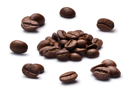 Set of roasted coffee beans or split flat berries, dark, chiaro, in piles and alone. Clipping path for each object, shadows separated