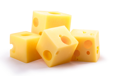 Group of holey Swiss or Dutch cheese cubes. Clipping paths, shadow separated