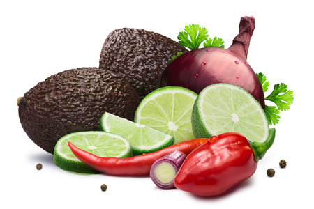 Ingredients for colorful Guacamole dip. Hass avocados, limes, Cayenne and Habanero peppers, red onion and cilantro. Clipping paths, shadow separated