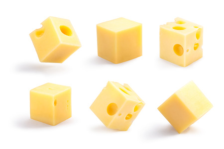 Set of holey, plain, steady and tippy cheese cubes. Clipping path for each cube, shadows separated