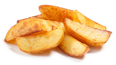 quartered: Pile of quartered baked fried potatoes or potato chips. Clipping paths, shadow separated