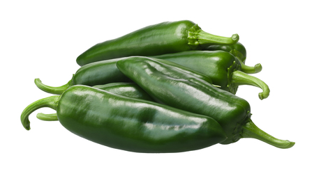 Pile of green Anaheim chile peppers (Capsicum annuum), the mild variety of New Mexico (Numex) chile No. 9. Clipping paths, shadowless