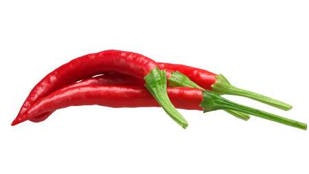 De Arbol chile peppers (Capsicum annuum), red ripe. Clipping paths, shadowless Stock Photo
