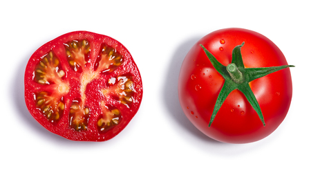 Fresh ripe round tomato with sepal, whole and half. Top view, clipping paths, shadows separated Stock Photo - 75987826