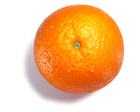Orange (Citrus sinensis fruit), whole. Clipping paths, shadow separated, top view