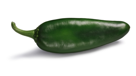 Green Hatch chile pepper (New Mexico Numex pod type, Capsicum annuum). Clipping paths, shadow separated