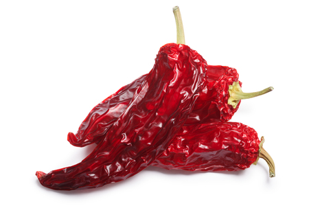Dried Hungarian Hot Wax or Paprika pepper pods, whole. Clipping paths, shadow separated, top view Stock Photo