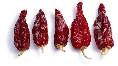 Chiles seco del norte, a ripe dried Anaheim peppers. Clipping paths, shadows separated, top view