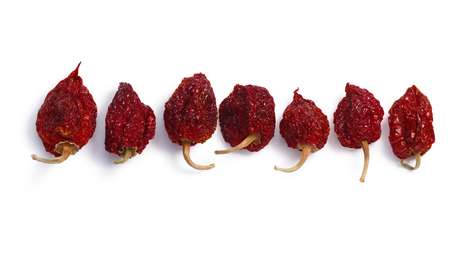 Dried Habanero (Capsicum chinense) chile peppers, whole pods. Clipping paths, shadows separated, top view Фото со стока