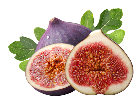 Fig fruits (Ficus carica) with leaves, whole and half. Clipping paths, shadowless Stock Photo