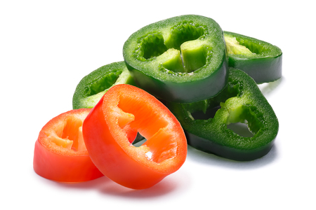 Hot wax (Paprika) and Jalapeno chile peppers slices, seedless. Clipping paths, shadows separated