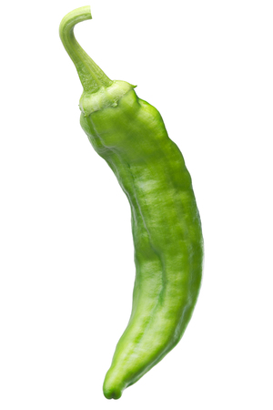Numex Big Jim green chile pepper, whole. New Mexico pod type (Capsicum annuum). Clipping path