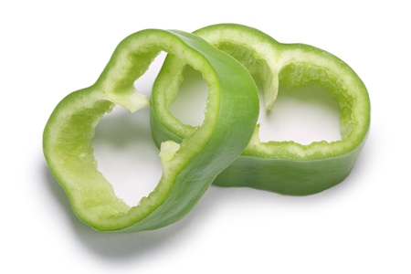 Numex Big Jim green chile peppers, sliced or diced. New Mexico pod type (Capsicum annuum). Clipping paths, shadow separated, top view