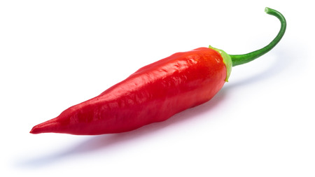 Aji Cristal pepper pod, ripe (Capsicum baccatum). Clipping paths, shadow separated