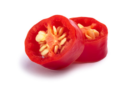Aji Cristal pepper, slices (Capsicum baccatum). Clipping paths, shadow separated