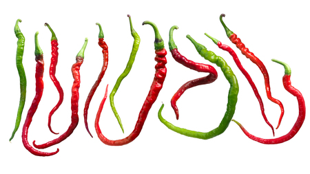 Bangalore Whippets Tail chile peppers (C. annuum x C. frutescens cross). Clipping path for each
