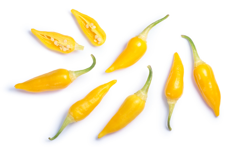 Aji Habanero chile peppers (Capsicum baccatum), top view. Clipping paths, shadows separated
