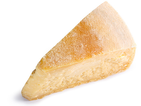 Generics Parmesan cheese, loaf segment with rind, mature. Clipping paths, shadow separated, top view