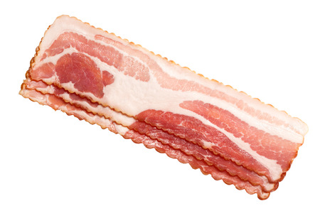 Bacon strips, uncooked, profiled. Top view, clipping path: https:goo.glAJeyru