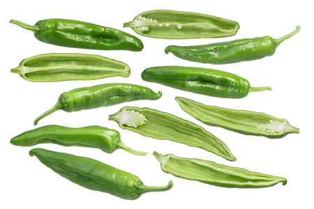 Hatch Green Chiles (Capsicum annuum), Medium. Clipping paths for each Stock Photo