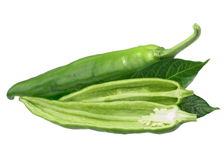 Hatch Green Chiles (Capsicum annuum), Medium. Clipping path Stock Photo