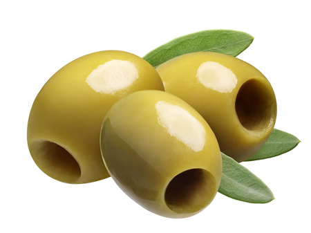 Green pitted olives (Large Manzanilla or Chalkidiki). Clipping path Stock Photo