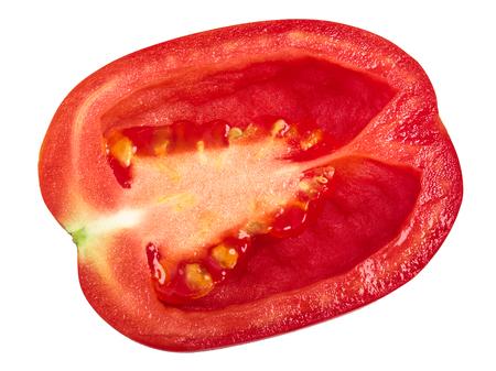 Plum Roma tomato half, top view. Solanum lycopersicum fruit Stock Photo
